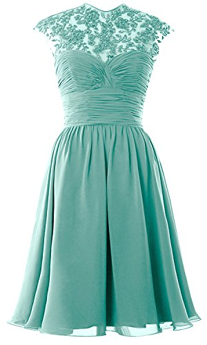 Women High Neck Cap Sleeve Lace Short Bridesmaid Dress Wedding Party Ball Gown Turquoise