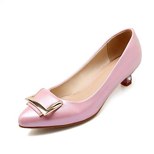 a18e63e2530ad AgooLar Damen Rein Blend-Materialien Ohne Absatz Ziehen Auf Spitz Zehe  Flache Schuhe Pink