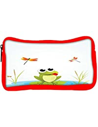 Snoogg Eco Friendly Canvas Background With Frog Student Pen Pencil Case Coin Purse Pouch Cosmetic Makeup Bag