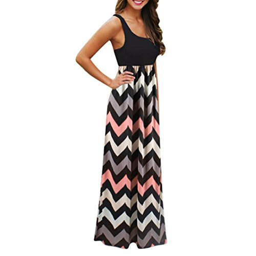 SMILEQ Womens Sleeveless Vest Dress Striped Long Boho Maxi Sundress Lady Beach Summer Casual Skirt