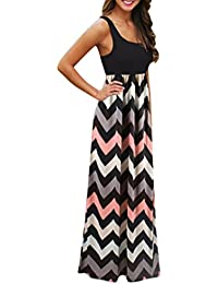 c47065be36 SMILEQ Dress Sleeveless Vest Dress Striped Long Boho Maxi Sundress Lady  Beach Summer Casual Skirt