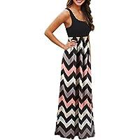 SMILEQ Dress Sleeveless Vest Dress Striped Long Boho Maxi Sundress Lady  Beach Summer Casual Skirt 8148bd3b1