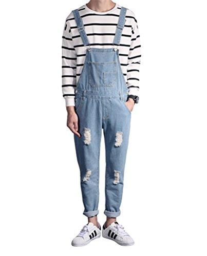 Brinny Fashion Herren Latzhosen Denim Loose Fit Stone-washed zerreißen Arbeitshosen Overall Jeans Long Asien: S-4XL Hellblau