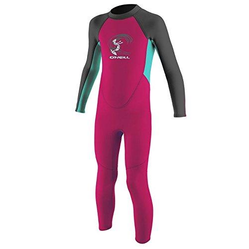 O';Neill Toddler Girls Reactor Neoprenanzug mit 2 mm Rückenreißverschluss Berry Aqua - 100% Fluidflex - YKK-Rückenreißverschlusssystem - Flatlock-Stitching