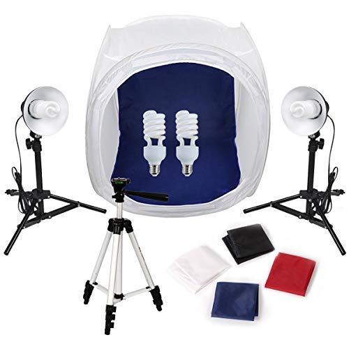 Lichtzelt 80x80 Mini Fotostudio Lchtwürfel mit Beleuchtung Set Tageslicht Fotozelt 4 Hintergrundstoffe 2 Studioleuchte 1 Kamerastativ