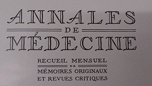 Influence de la parabiose sur le developpement des cancers inocules, in: ANNALES DE MEDECINE, Tome 2, No. 3, Avril 1915.