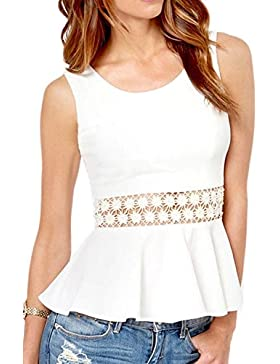 Mujeres Sin Mangas De Verano Caliente Encaje Patchwork Hollow Out Tunci Camisa Blusa Top Tee