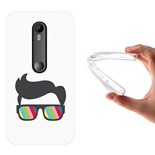WoowCase Motorola Moto G 2015 Hülle, Handyhülle Silikon für [ Motorola Moto G 2015 ] Sonnenbrille und Nerd Stil Handytasche Handy Cover Case Schutzhülle Flexible TPU - Transparent