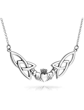 Celtic Trinity Knot Claddagh Anhänger Sterling Silber Halskette 16 Zoll