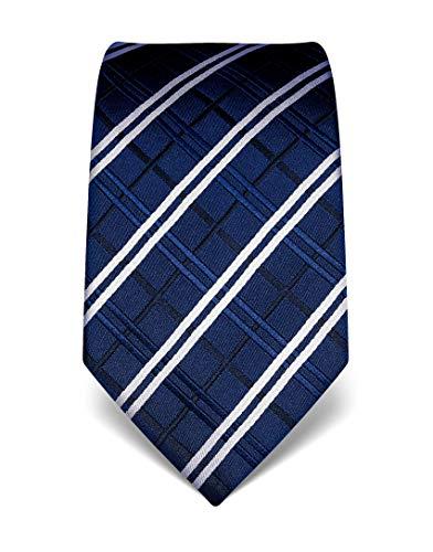 Vincenzo Boretti Herren Krawatte reine Seide Karo Muster kariert edel Männer-Design zum Hemd mit Anzug für Business Hochzeit 8 cm schmal/breit dunkelblau