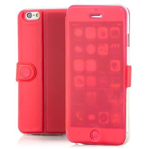 Saxonia Schutzhülle Apple iPhone 6S / 6 Hülle Flip Case Tasche mit Smart-Touch Bedienung (Sichtschutz) stabile Standfunktion Pink Rot