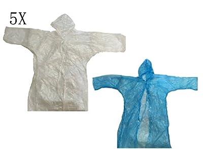 XY Life ® 5 x Erwachsenen Notfall Regenponcho mit Kapuze tragbare für Konzerte Vergnügungspark