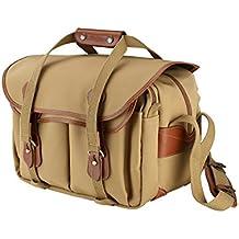 Billingham 335 - Bolsa de lienzo con bordes de cuero para cámara réflex, color caqui