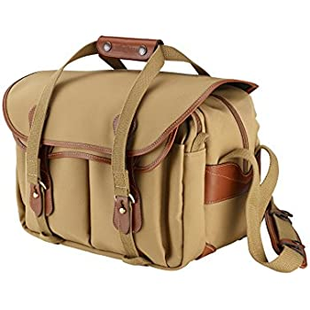 Billingham 335 Canvas Camera Bag With Tan Leather Trim - Khaki