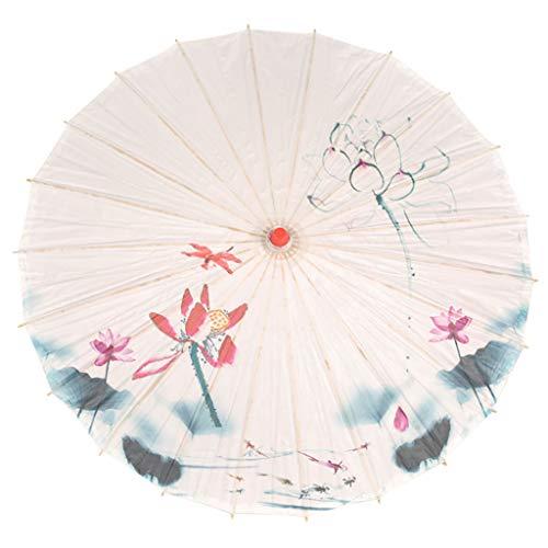 eliaSan Seidenschirm 33,5 '' Japanisch Chinesisch Regenschirm Sonnenschirm für Hochzeit Regenfest Dekorative Öl Papier Regenschirm Sonnenschirm für Fotografie, Kostüme, Cosplay