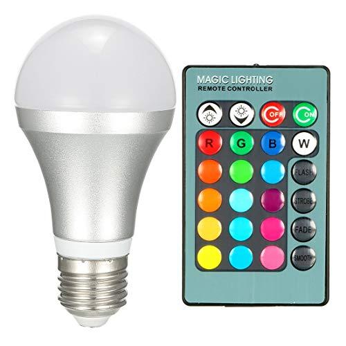 ZCHXD AC 85V-265V 2.5W E27 Screw Base RGB 16 Color Grad Remote Control Light Bulb 5M Telecontrol Distance