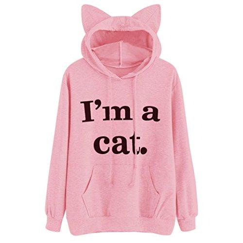 Lilicat Langarmshirt Frauen Mode T-Shirt Hoodie Sweatshirt Sommer Oberteile Sexy Gestreift Bluse Damen Kapuzenpullover Chic Crop Tops Applikationen Rose Hemd Kurze Ärmel Tank Tops (L, Pink) (Riemen Quaste)