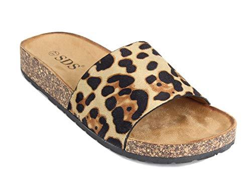 Frentree Damen Sommer Sandalen mit Metallschnalle Buckle | Bunte Pantoletten mit Zebra Leoparden Muster, Größe Normal:39, Farbe:Camel Leopard -