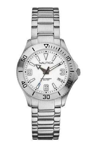Nautica NAC 102 Women's Quartz Watch with White Dial Analogue Display and Silver Stainless Steel Bracelet A13504M
