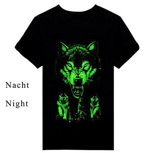 ETASSO Herren Kurzarm T-Shirt 3d Aufdruck Tier Shirt Luminous Tops Wolf 3