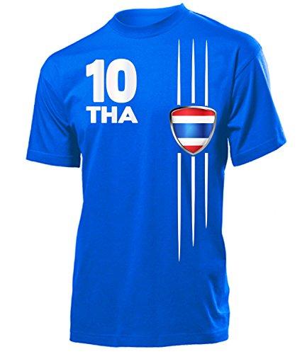 Thailand Fanshirt Fan Shirt Tshirt Fanartikel Artikel 5403 Fussball Männer Herren T-Shirts Blau M