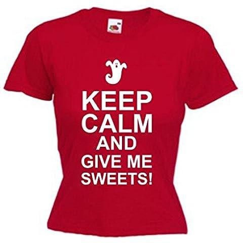 Keep Calm And Give Me caramelos Funny Mujer Camiseta con diseño de Halloween