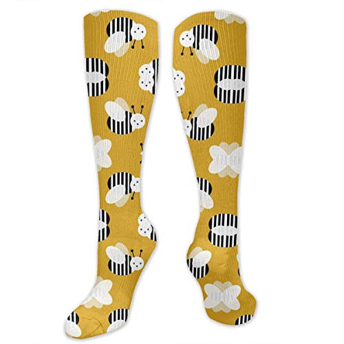 Gped Kniestrümpfe,Socken Bumble Bee Garden Summer Cute Stripes Compression Socks,Knee High Socks for Women Men - Best Medical,Sports,Running, Nurses,Maternity,Pregnancy,Travel & Flight Socks (Bumble Outfit Bee)