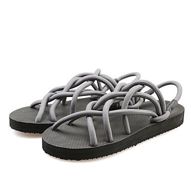 Pantofole Unisex & flip-flops Primavera Estate luce Comfort suole di scarpe Club Nylon outdoor casual Tacco a cuneo Nero Grigio Chiaro US6.5-7 / EU37 / UK4.5-5 / CN37