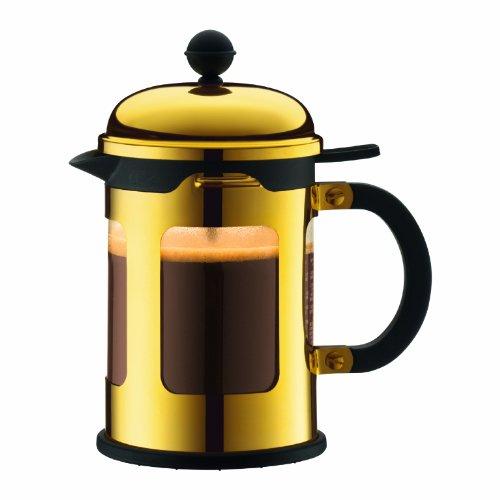 Bodum New Chambord Kaffeebereiter 4 Tassen, Chrom, Gold, cm, 10.6 x 17 x 19.5 cm, 1 Einheiten