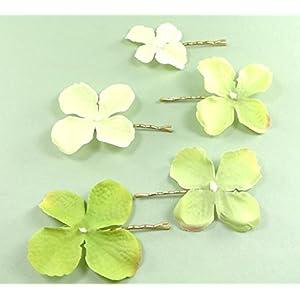 clarigo, Haarnadeln, Haarklammern, Haarklemmen, Hortensie, grün, Hochzeit, Kommunion, Blumen, Blumenmädchen
