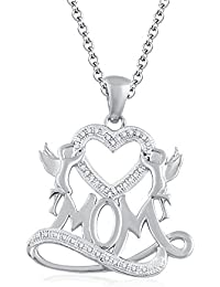 "Silvernshine 1.35 Ct D/VVS1 Diamond Mom Heart Pendant 18"" Chain Necklace In 14K White Gold Fn"