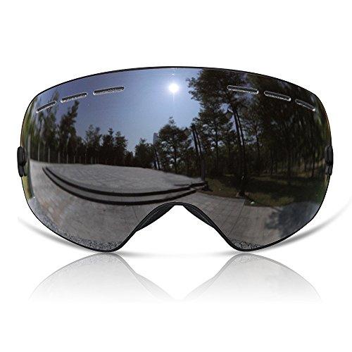 GANZTON Skibrille Snowboard Brille Doppel-Objektiv UV-Schutz Anti-Fog Skibrille Für Damen Und Herren Jungen Und Mädchen Pures Schwarz