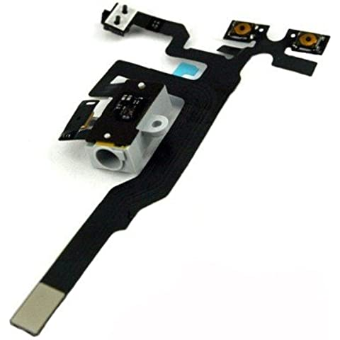 IdealGame - Circuito de entrada de jack y de botones controladores de volumen y vibrador, componente de repuesto para iPhone 4S, color blanco