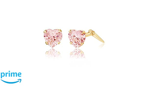 9ct yellow gold 5mm pink heart cubic zirconia Andralok stud earrings / Giftbox