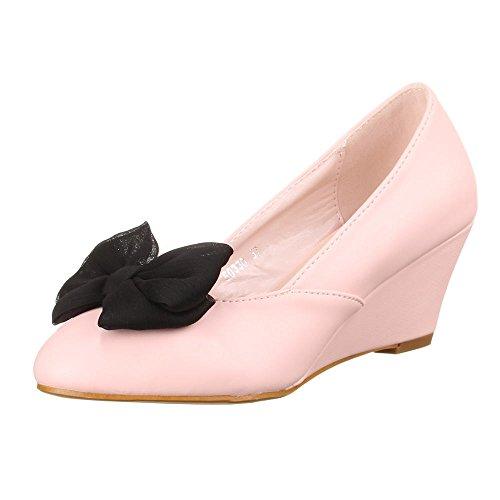 Damen Schuhe, 50330, KEILABSATZ WEDGES FLIEGEN DEKO PUMPS Rosa