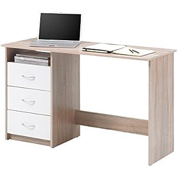 Redstone Nussbaum Dunkel Schreibtisch 3 Schubladen 3 Regale