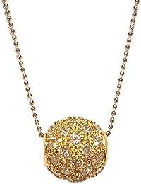 Superstar Collier Femme en Or 14 carats Jaune avec Zircon Blanc, Cm 42, 4 Grammes