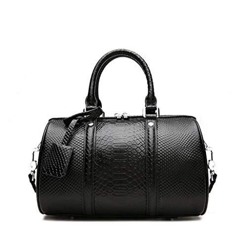 SHLBAG Damenmode Handtasche Schultertasche Ledertasche, Größe: 30 * 29 * 16 cm (11.81 * 11.42 * 6.30 Zoll), Schultergurtlänge 110cm (einstellbar) (Farbe : Fine Grain Black, größe : One Size)