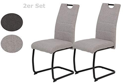 2er Set Stuhl Flora III, Bezug Microfaser Webstoff Grau, Metallgestell Schwarz