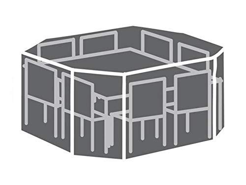 Perel Garden OCGS08 Schutzhülle Für 8-Eckiges Lounge-Set, Schwarz, 220 x 220 x 95 cm
