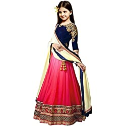 S R Fashion Girl's Georgette Lehenga Choli RPKC For 8 to 11 Years (RPKC_5559, Blue, 8-11 Years RPKC)