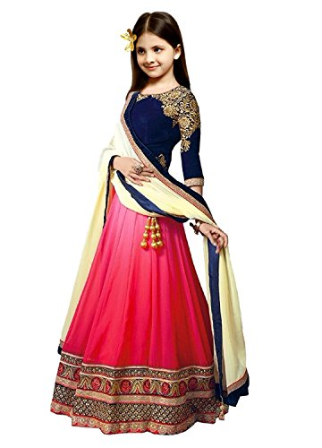 S R Fashion Girl\'s Georgette Lehenga Choli RPKC For 8 to 11 Years (RPKC_5559, Blue, 8-11 Years RPKC)