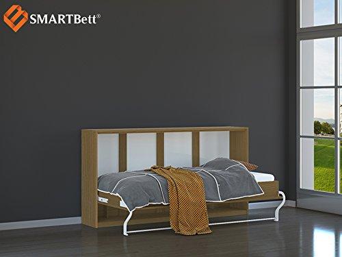 SMARTBett horizontal Klappbett Gästebett Schrankbett , Liegefläche 90x200cm, Buche - 2