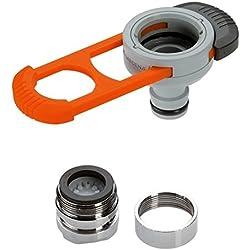 Adaptateur pour robinet d'intérieur de GARDENA: adaptateur pratique pour le raccordement du système GARDENA à un robinet avec filetage M 22 x 1 mâle et M 24 x 1 femelle (8187-20)