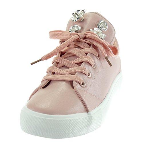 Angkorly Chaussures Mode Sneaker Tennis Femme Fleurs Bijoux Talon Plat Talon 2.5 Cm Rose