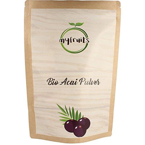 myfruits Bio Acai Pulver - gefriergetrocknet, ohne Zusätze, dunkelviolett. Wild gewachsen im Amazonasgebiet. Aus 18 kg frischen Beeren. Abgefüllt in Deutschland - finest superfood (1 kg) - Acai-früchte Kapseln