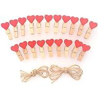 LWR Crafts - Minipinzas de madera, con corazón rojo, 20 unidades y cuerda de yute 2,43 m