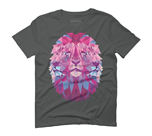 Polygon Lion Men's Graphic T-Shirt - Design By Humans Anthracite