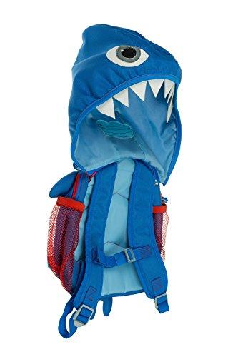 My Doodles Kleinkinderrucksack Kindergartenrucksack Kinderrucksack mit Kapuze, Schultergurte, Brustgurt und Abnehmbaren Walker Zügeln Sicherheitsgeschirr - Blauer Hai (Walker Leine Perfekte)