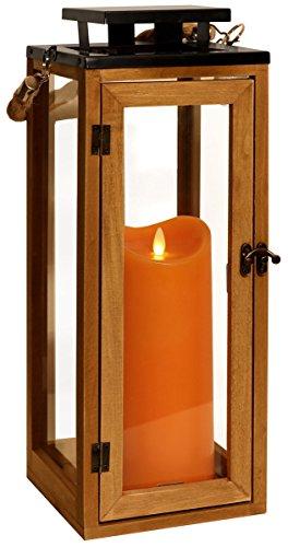 Dekovita Holz-Laterne 42cm inkl Tronje LED-Echtwachskerze 23cm Orange Stumpen Timer bewegter Docht Leuchtdauer 800 St.